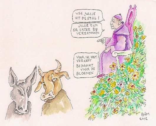Paus- 'Er waren geen os en ezel in de kerststal'